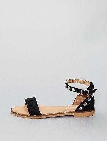 Platte, hoge sandalen van suèdine - Kiabi