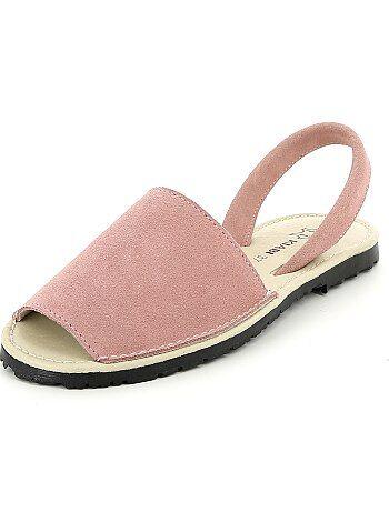 Platte, leren sandalen - Kiabi