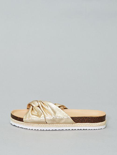 Platte metallic sandaaltjes                             BIEGE Schoenen