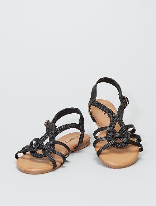 Platte sandalen met gevlochten riempjes                             ZWART