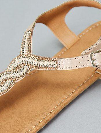 Platte sandalen met kraaltjes - Kiabi