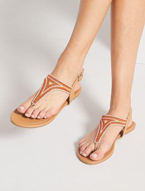 Platte sandalen met kralen                                         khaki