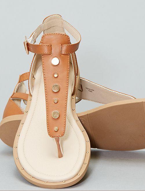 Platte sandalen met studs                                         BRUIN