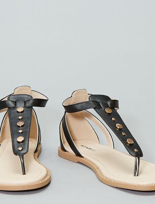 Platte sandalen met studs                                         zwart Dameskleding
