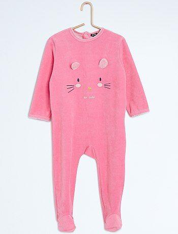 Pyjama met voetjes en dierenprint - Kiabi