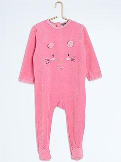 Pyjama, badjas - Pyjama met voetjes en dierenprint - Kiabi