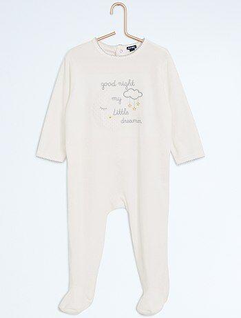 Pyjama met voetjes en nachtprint - Kiabi