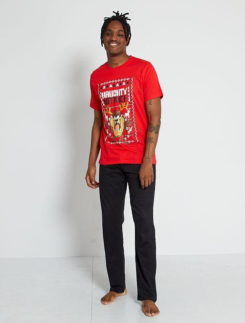Pyjama 'Taz' 'Looney Tunes' 'Warner bros.'                             rood / zwart