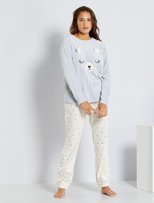 Pyjama van pluchetricot 'beertje'                                                                 WIT