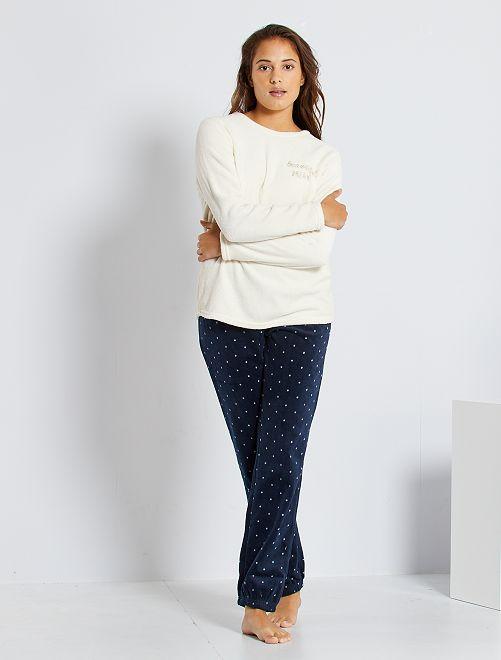Pyjama van pluchetricot                                                                 WIT