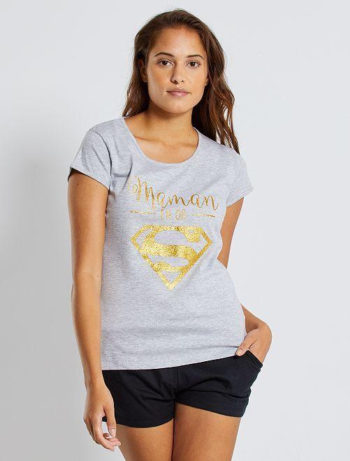 Pyjama van 'Supergirl'                             zwart Lingerie maat s-xxl