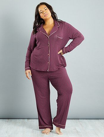 Damesmode grote maten - Pyjama van tricot met stropdasprint - Kiabi