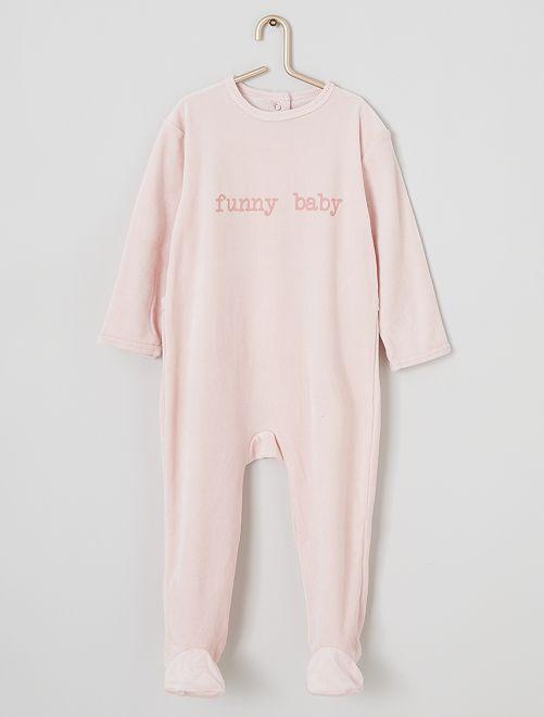 Pyjama van velours met print                                                                                         ROSE
