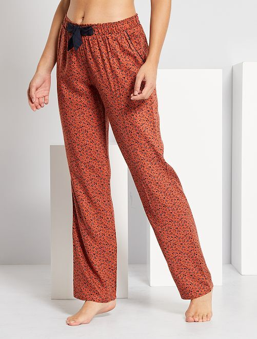 Pyjamabroek met print                                         BRUIN