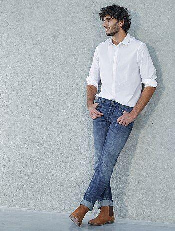 Raw denim jeans met verwassen effect - Kiabi