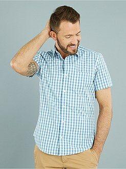 Overhemd - Recht katoenen overhemd met korte mouwen en een print