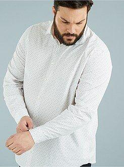 Herenmode grote maten Recht model overhemd met print