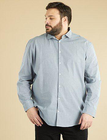 Herenmode grote maten - Recht model overhemd van katoen met print - Kiabi