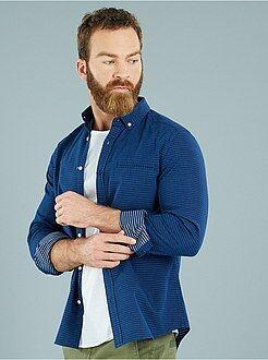 Denim - Rechte blouse van piquékatoen in denimlook