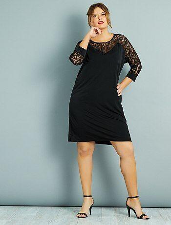 Rechte jurk met borststuk en kanten mouwen - Kiabi