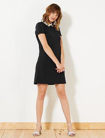 Rechte jurk met claudinekraag - Kiabi