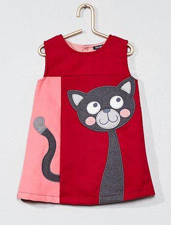 Rechte jurk met poezenborduursel - Kiabi