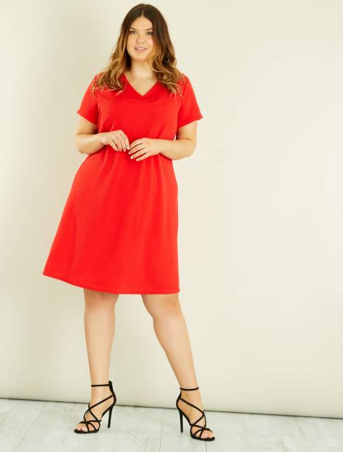 Rechte jurk van gewafeld tricot                                         rood Dames size+