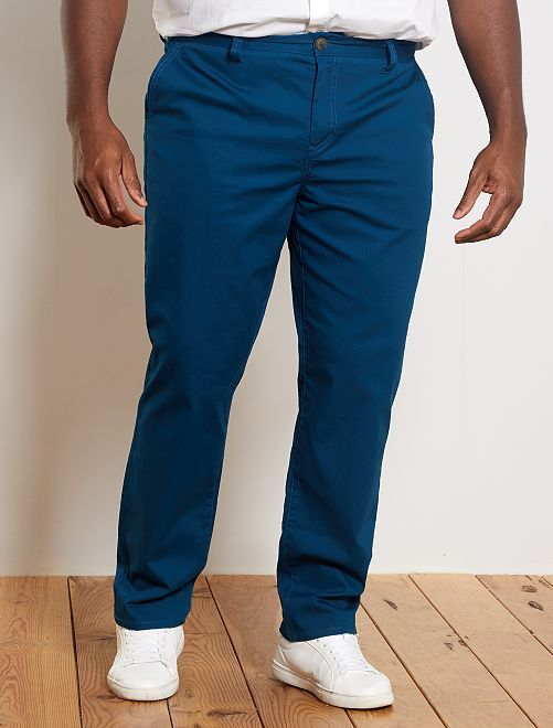 Regular chinobroek van oxfordkatoen                                                     blauw poseidon