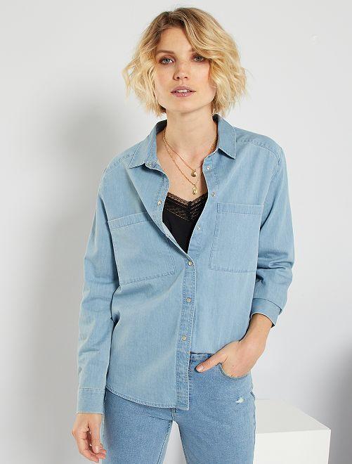 Regular denim blouse                             BLAUW