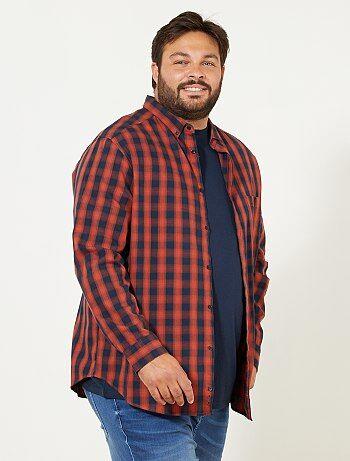Herenmode grote maten - Regular geruit overhemd - Kiabi