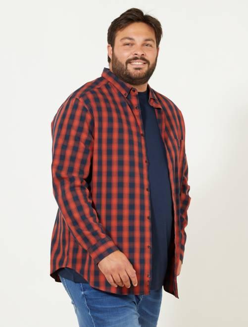 Regular geruit overhemd                             rood/marineblauw Herenmode grote maten