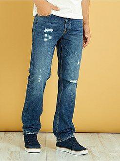Denim - Regular jeans met versleten plekken