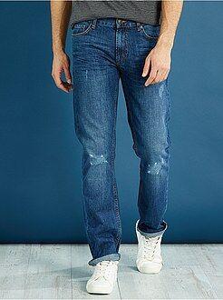 Jeans - Regular jeans van 100% katoen met lichte slijtplekken