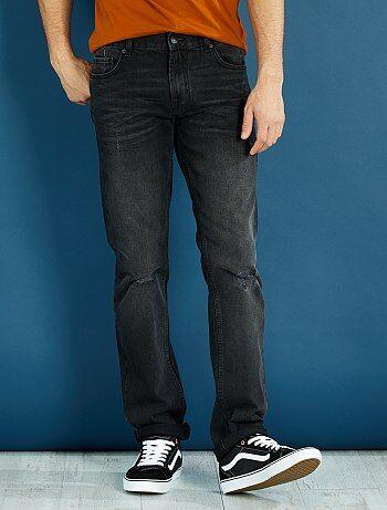 Regular jeans van 100% katoen met lichte slijtplekken - Kiabi
