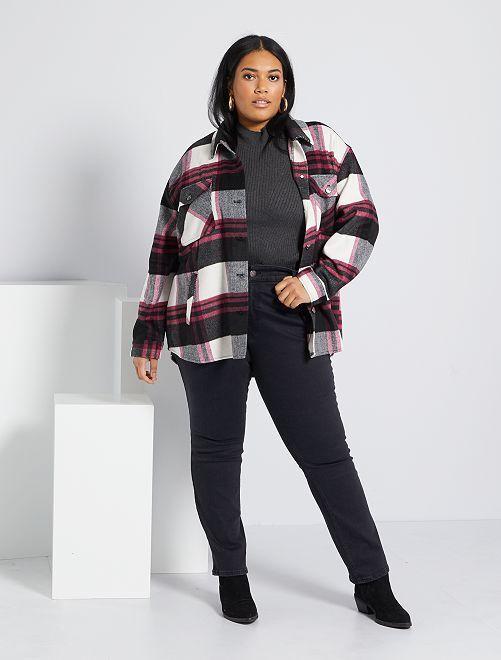 Regular jeans van stretch denim, lengte 75 cm                                                                 black denim Dames size+