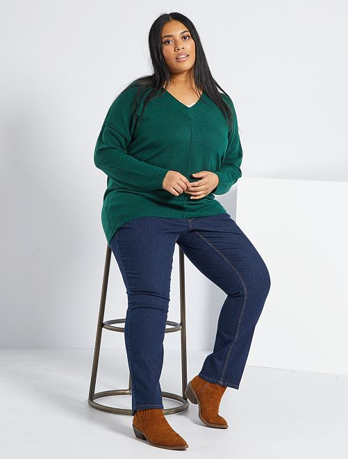 Regular jeans van stretch denim, lengte 75 cm                                 blauw