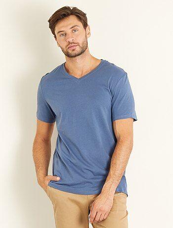 Regular katoenen T-shirt met V-hals - Kiabi