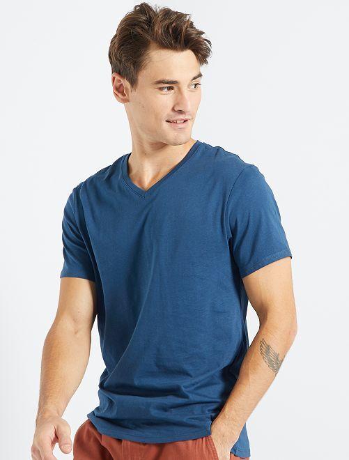 Regular katoenen T-shirt met V-hals                                                                                                                 BLAUW