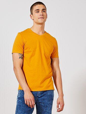 8b0d39b1d15199 Regular katoenen T-shirt met V-hals - Kiabi