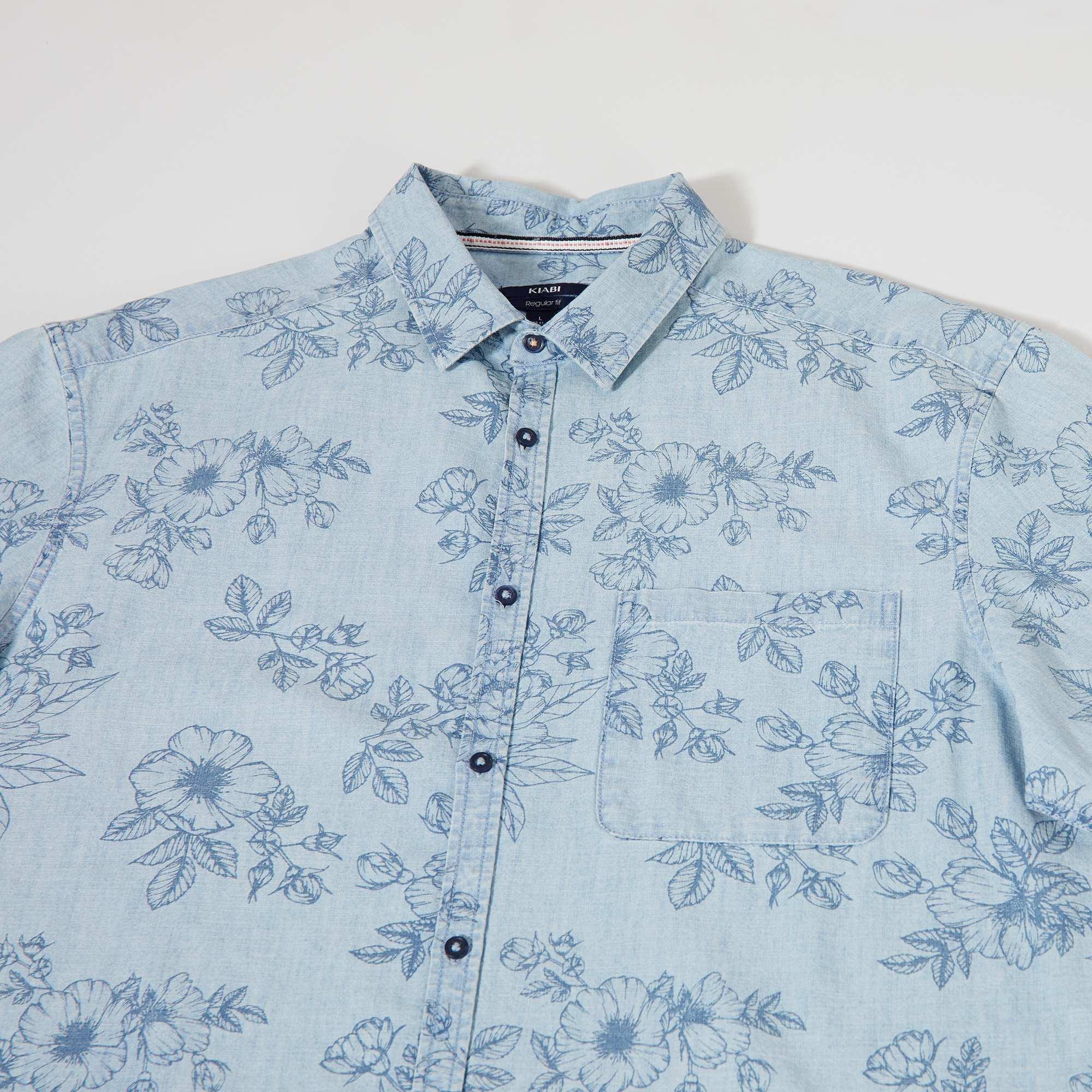 Heren Overhemd Bloemenprint.Regular Overhemd Met Bloemenprint Heren Tall 190cm Blauw