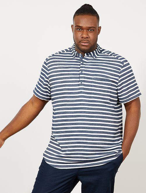 Regular overhemd met strepen                             BLAUW Herenmode grote maten