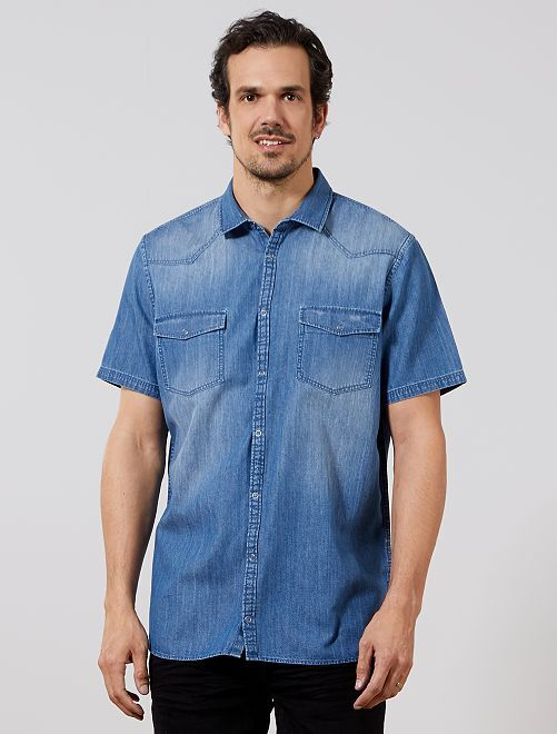Denim Overhemd Heren.Regular Overhemd Van Denim 1 90 M Heren Tall 190cm Blauw