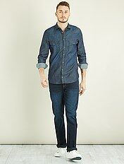 Regular overhemd van denim + 1,90 m