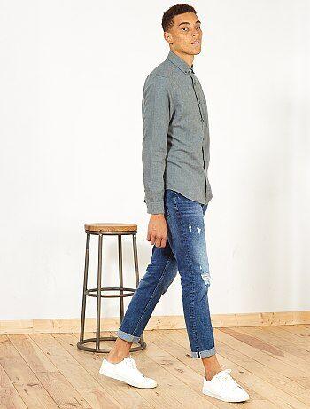 Regular overhemd van katoen en linnen - Kiabi