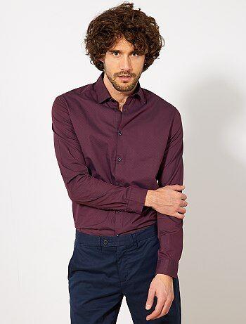 Regular overhemd van knisperend katoen met microprint - Kiabi