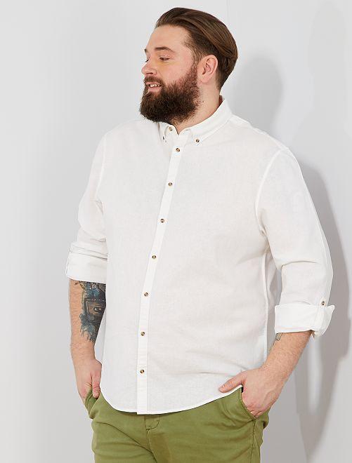 Regular overhemd van linnen en katoen                                                     wit Herenmode grote maten