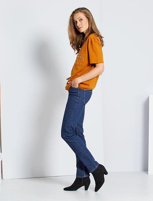 Regular stretch jeans met hoge taille                                 BLAUW Dameskleding