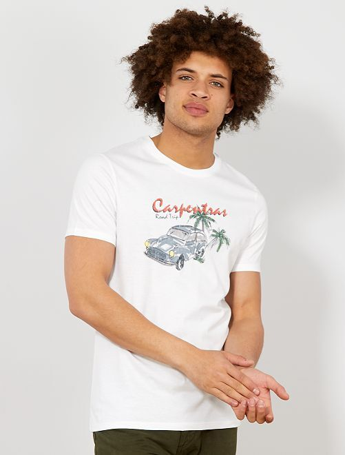 Regular T-shirt met een ecodesign                                                                                                                 WIT Herenkleding