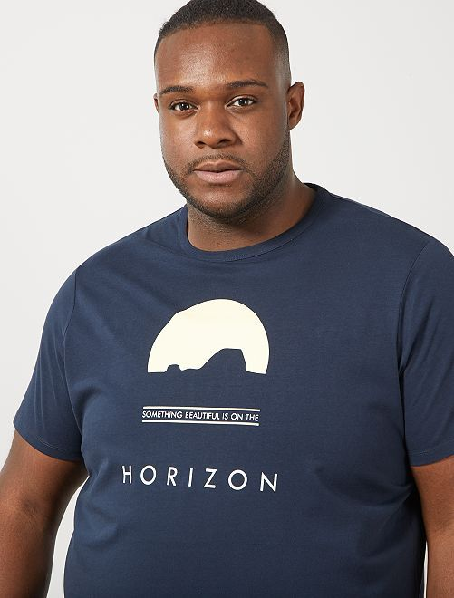 Regular T-shirt met print                                                                                 BLAUW
