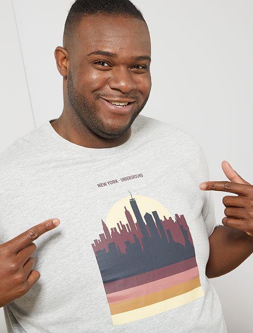 Regular T-shirt met print                     GRIJS